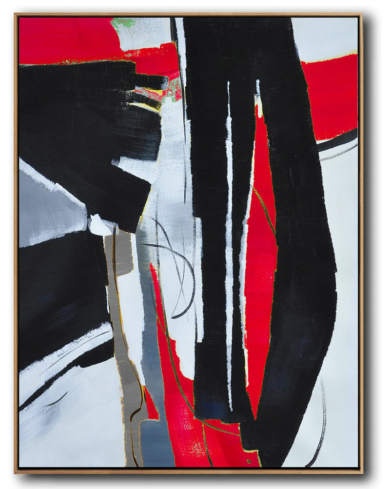 Buy Contemporary Art Online,Pop Art Canvas,Hand Painted Large Vertical Red Contemporary Painting On Canvas,Large Canvas Art,Modern Art Abstract Painting,Black,White,Red,Grey,Pale Blue.etc
