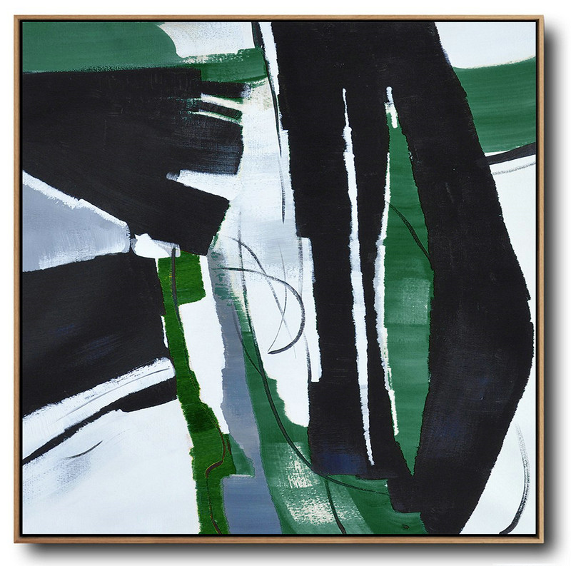 Virtual Art Gallery,Original Extra Large Wall Art,Oversized Dark Green Contemporary Painting On Canvas,Acrylic Painting Canvas Art,Dark Green,Balck,White.etc