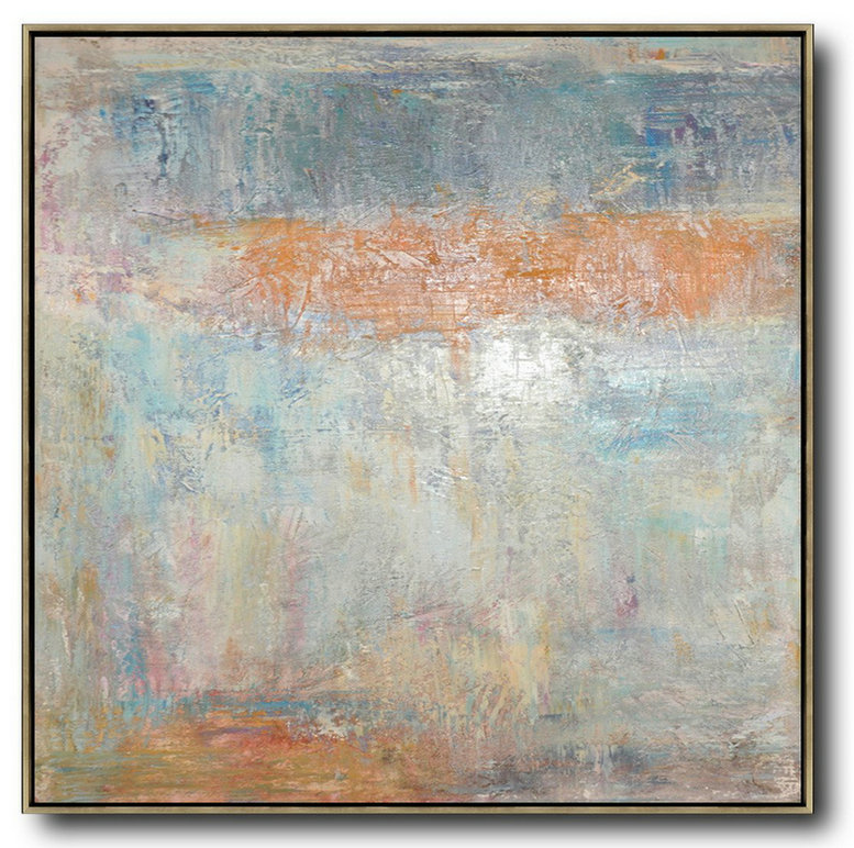 Oil On Canvas,Huge Abstract Painting On Canvas,Oversized Contemporary Art,Modern Art Abstract Painting,Taupe,White,Orange,Yellow,Grey.etc