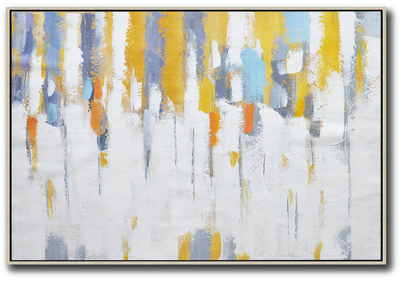 Art Modern Abstract,Oversized Canvas Art On Canvas,Oversized Horizontal Contemporary Art,Size Extra Large Abstract Art,White,Yellow,Purple Grey.etc
