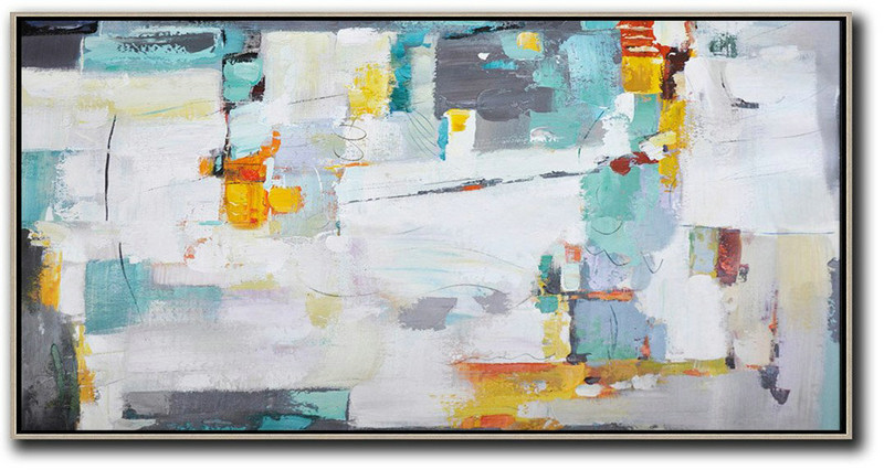 Art Prints Posters,Large Abstract Art Handmade Oil Painting,Horizontal Palette Knife Contemporary Art,Original Art,White,Grey,Yellow.etc