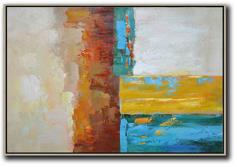 Teal And Gold Abstract Art,Original Art,Vertical Palette Knife Contemporary Art,Extra Large Canvas Art,Handmade Acrylic Painting,Blue,Red,Yellow,Gray.etc