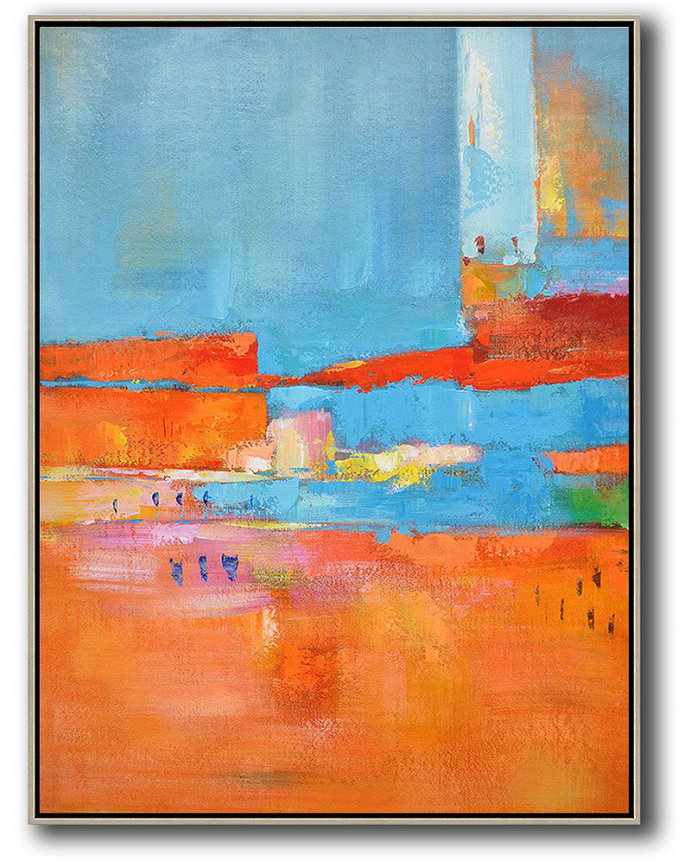 Abstract Art Gray,Large Abstract Art Handmade Oil Painting,Vertical Palette Knife Contemporary Art,Large Colorful Wall Art,Red,Orange,Sky Blue,Pink.etc
