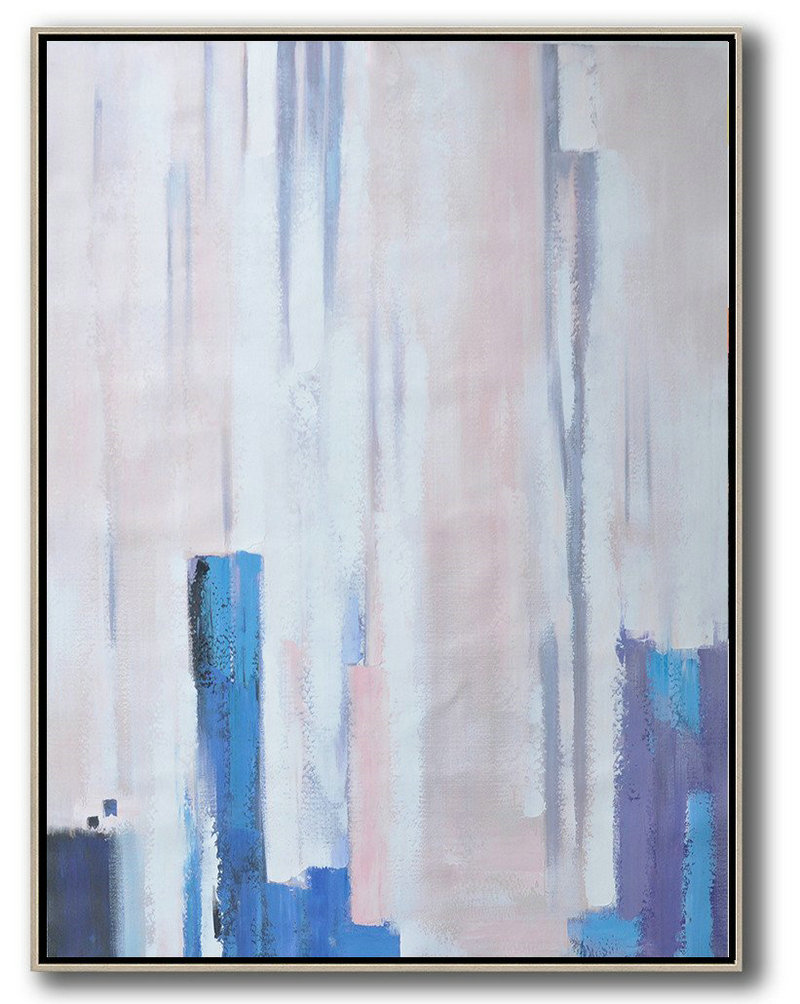 Big Canvas Art Cheap,Modern Abstract Wall Art,Vertical Palette Knife Contemporary Art,Acrylic Painting On Canvas,Pink,Blue,Purple,White.etc