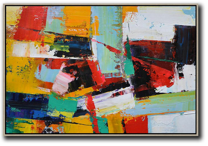 Art Prints Posters,Contemporary Abstract Painting,Horizontal Palette Knife Contemporary Art,Original Art,Yellow,Red,White,Blue.etc