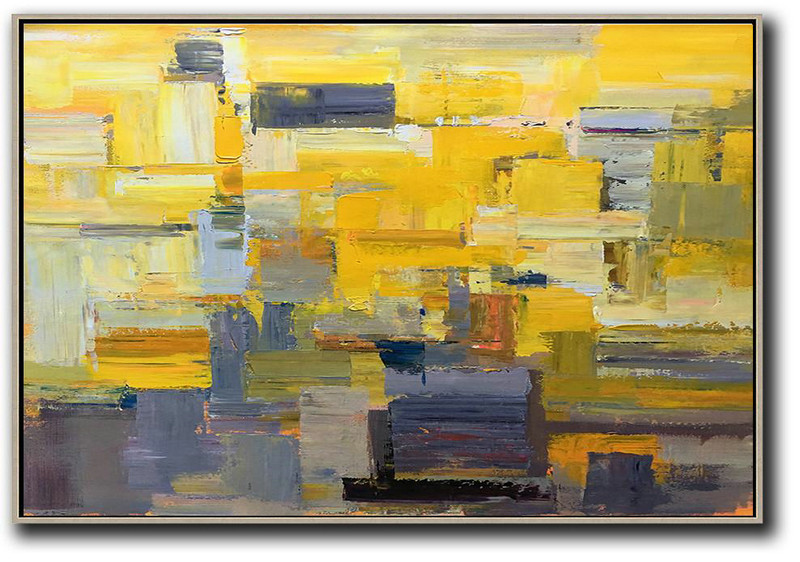 Abstract Prints,Abstract Painting Extra Large Canvas Art,Horizontal Palette Knife Contemporary Art,Original Abstract Painting Canvas Art,Yellow,Grey,White.etc