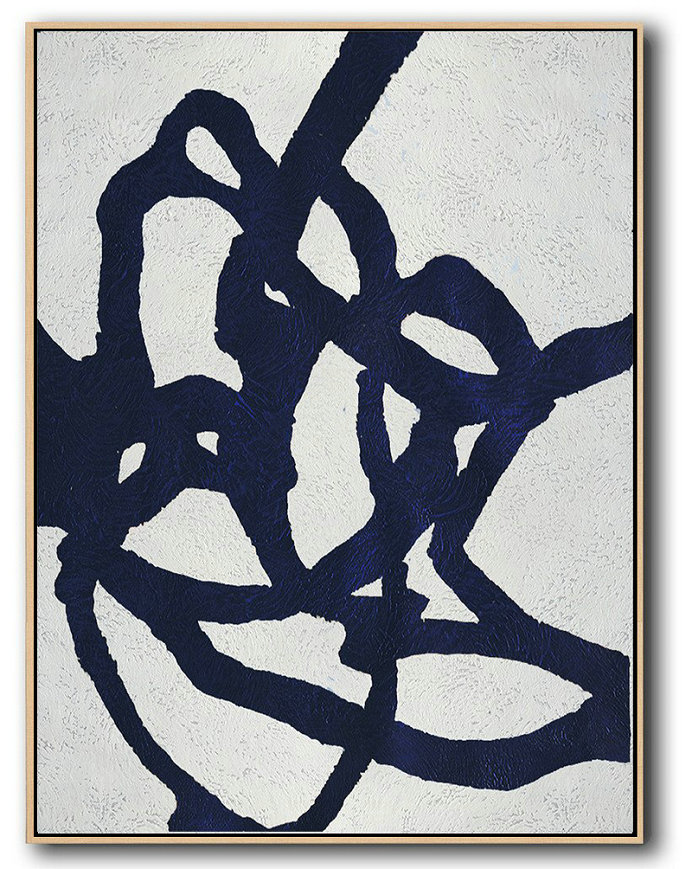 Extra Long Canvas,Large Abstract Art,Buy Hand Painted Navy Blue Abstract Painting Online,Original Art