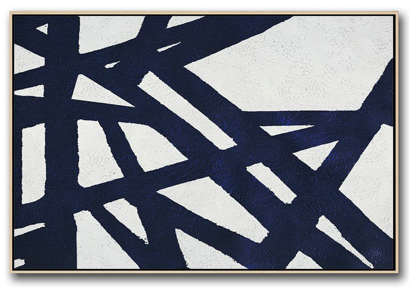 Abstract Art Gallery,Original Abstract Painting Canvas Art,Horizontal Abstract Painting Navy Blue Minimalist Painting On Canvas,Hand Painted Original Art