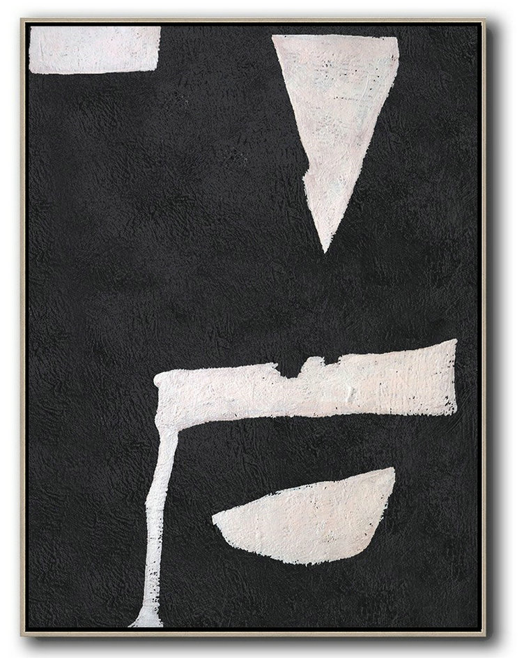 Art Painting Oil,Large Contemporary Art Acrylic Painting,Hand-Painted Black And White Minimal Painting On Canvas,Hand-Painted Contemporary Art
