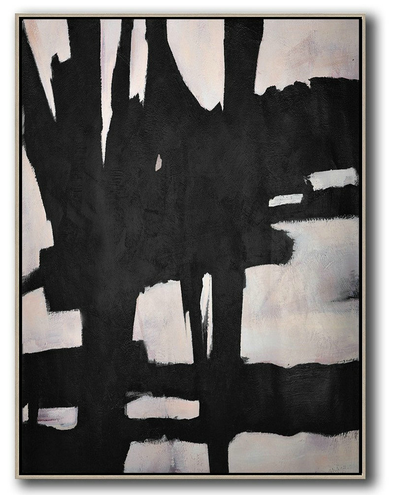 Buy Original Paintings,Extra Large Painting,Hand-Painted Black And White Minimal Painting On Canvas,Xl Large Canvas Art