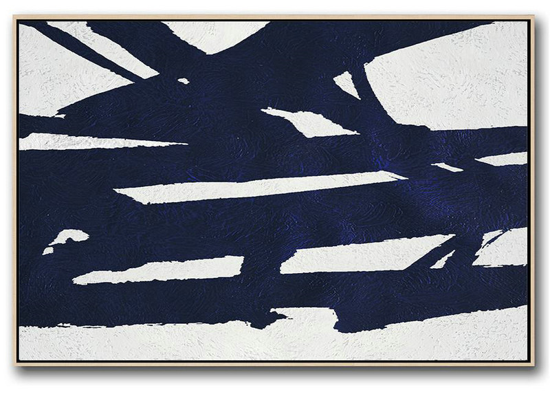 Cheap Canvas Prints,Modern Canvas Art,Horizontal Abstract Painting Navy Blue Minimalist Painting On Canvas,Modern Art Abstract Painting