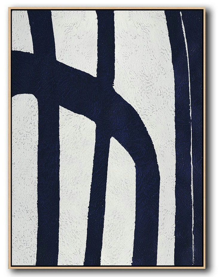 Big Wall Prints,Large Contemporary Art Acrylic Painting,Buy Hand Painted Navy Blue Abstract Painting Online,Oversized Art