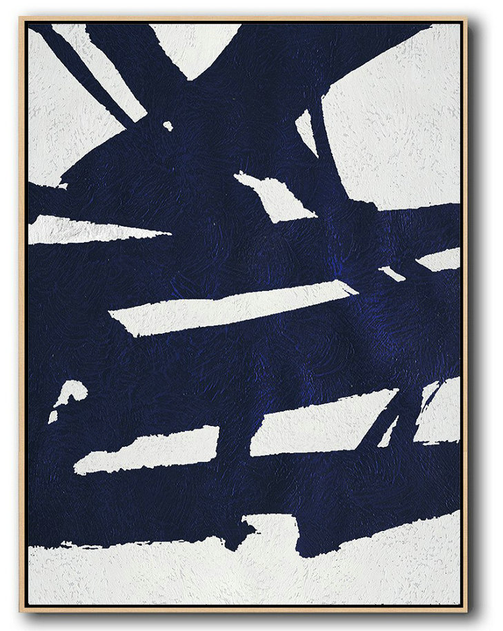Local Abstract Art,Hand Painted Extra Large Abstract Painting,Buy Hand Painted Navy Blue Abstract Painting Online,Oversized Custom Canvas Art