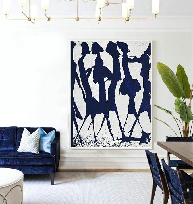 Extra Large Canvas Art Prints,Hand Made Abstract Art,Buy Hand Painted Navy Blue Abstract Painting Online,Living Room Wall Art
