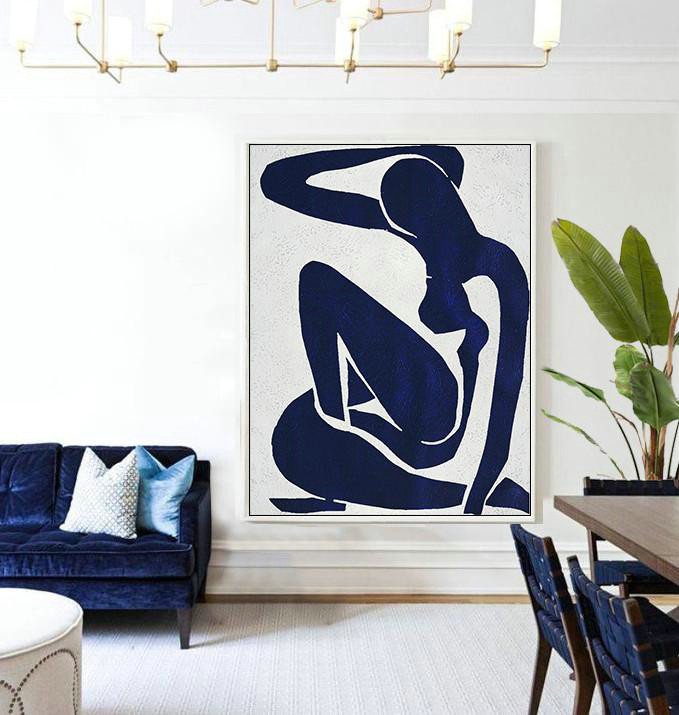 Fine Art Gallery Online,Abstract Painting Extra Large Canvas Art,Buy Hand Painted Navy Blue Abstract Painting Nude Art Online,Colorful Wall Art