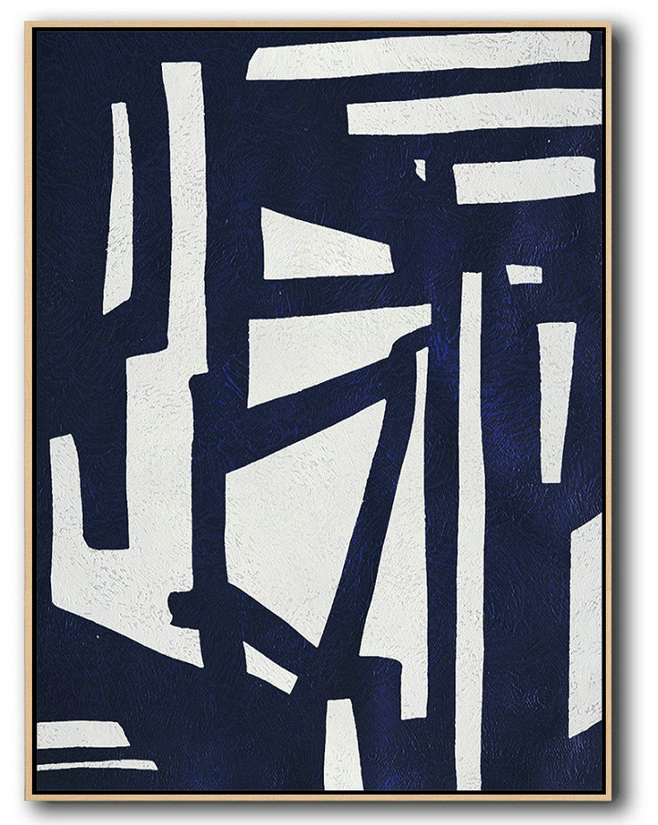Canvas Art Shop,Extra Large Abstract Painting On Canvas,Buy Hand Painted Navy Blue Abstract Painting Online,Hand-Painted Contemporary Art