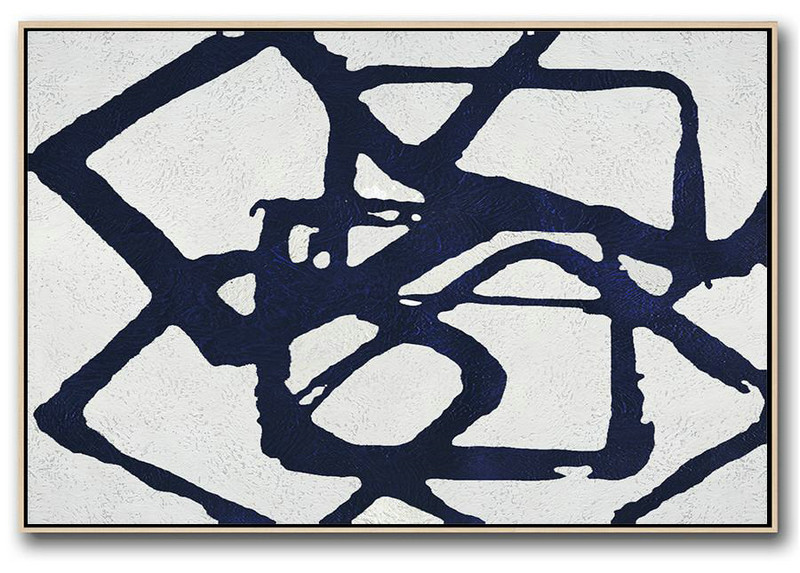 Abstract Art Oil,Hand Painted Acrylic Painting,Horizontal Navy Painting Abstract Minimalist Art On Canvas,Abstract Painting On Canvas
