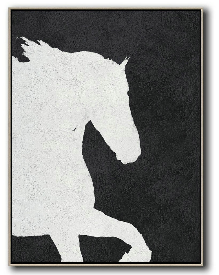 Large Canvasses,Large Modern Abstract Painting,Black And White Minimal Painting On Canvas - Modern Paintings