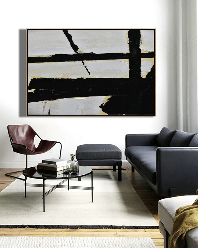 Easy Canvas Paintings,Large Wall Art Home Decor,Horizontal Palette Knife Minimal Canvas Art Painting Black White Beige - Acrylic Painting Large Wall Art