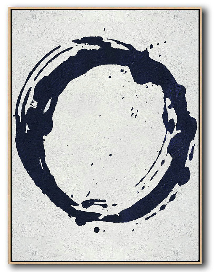 Huge Canvas Artwork,Large Abstract Art,Buy Hand Painted Navy Blue Abstract Painting Online,Modern Abstract Wall Art