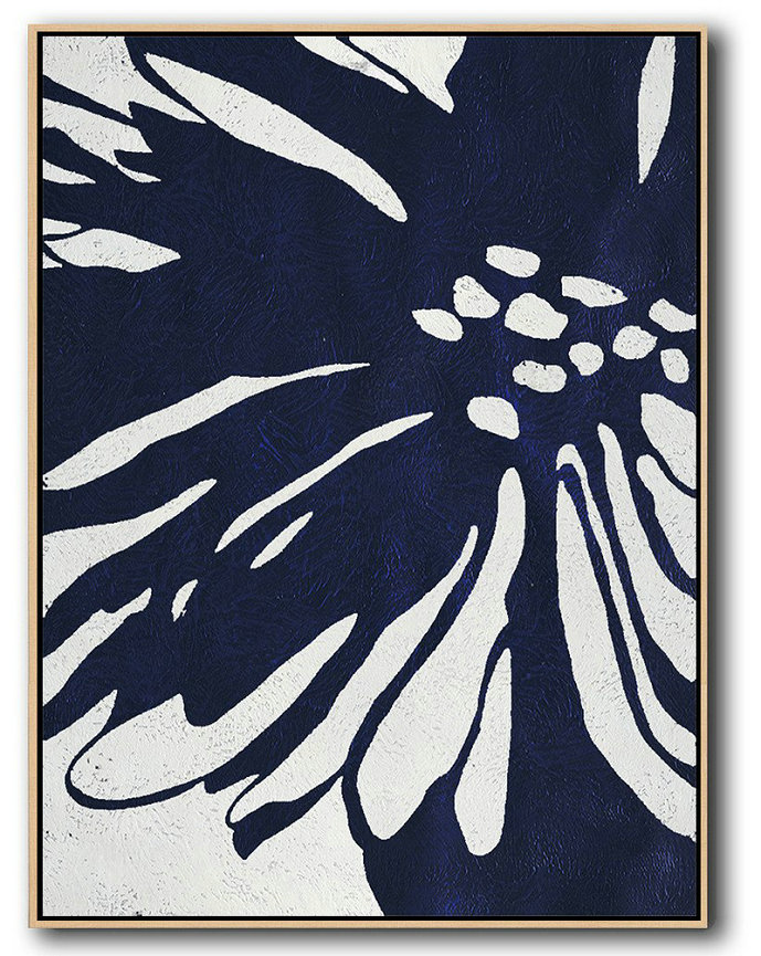 Most Abstract Art,Hand Painted Extra Large Abstract Painting,Buy Hand Painted Navy Blue Abstract Painting Online,Xl Large Canvas Art