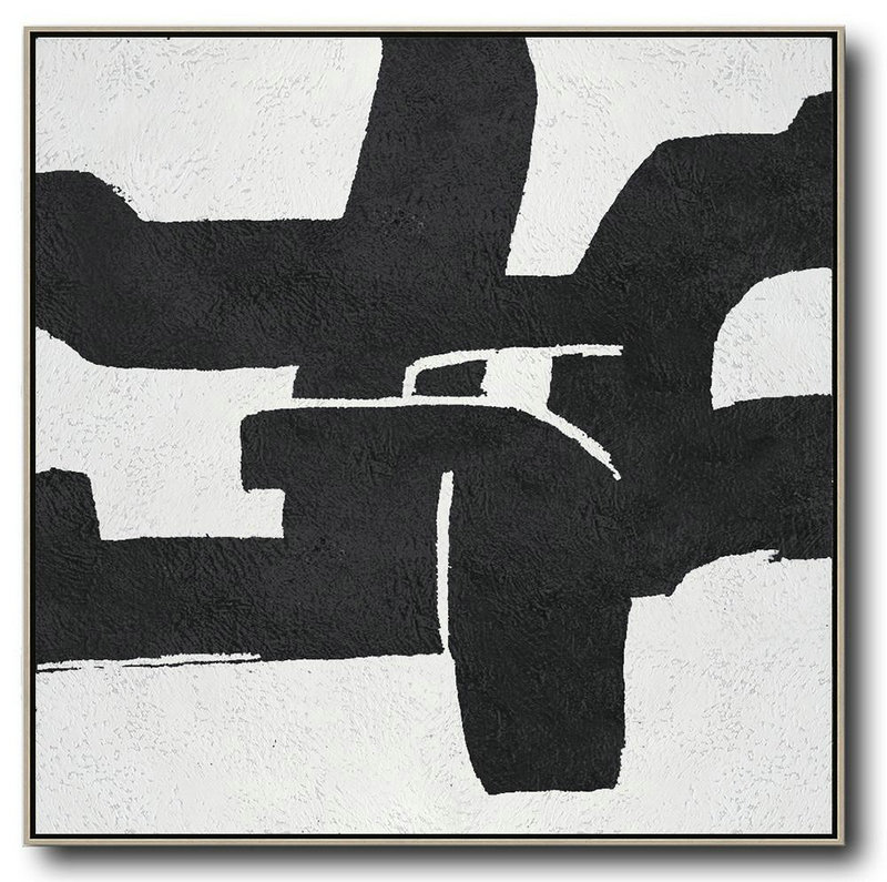 Get Large Canvas Prints,Large Abstract Painting On Canvas,Oversized Minimal Black And White Painting - Custom Canvas Wall Art