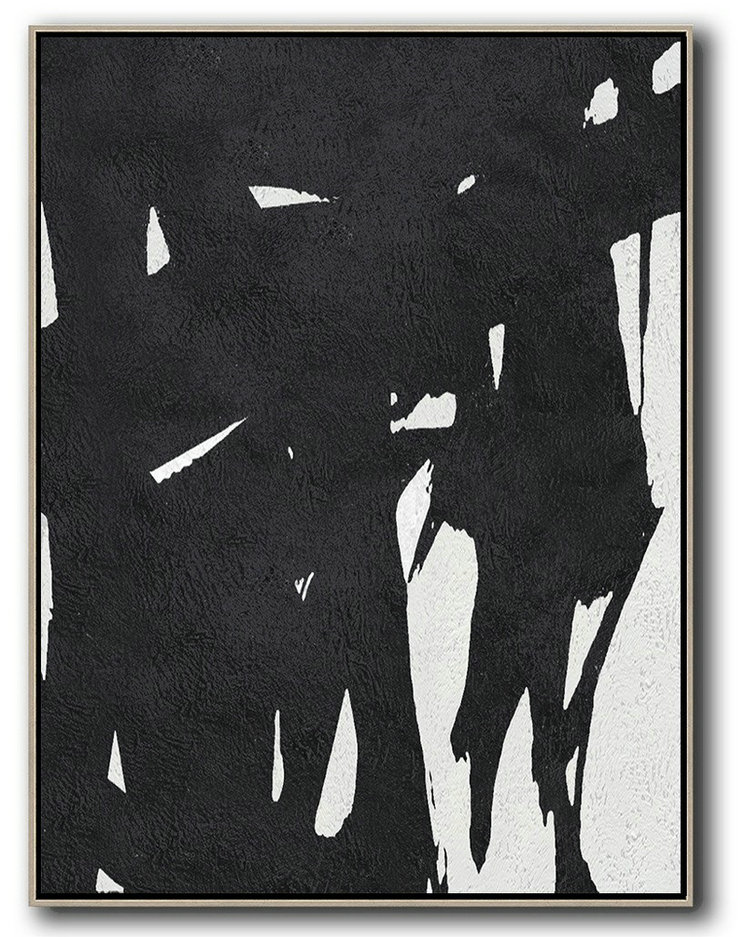 Abstract Art Simple Definition,Huge Wall Decor,Black And White Minimal Painting On Canvas - Hand Painted Acrylic Painting