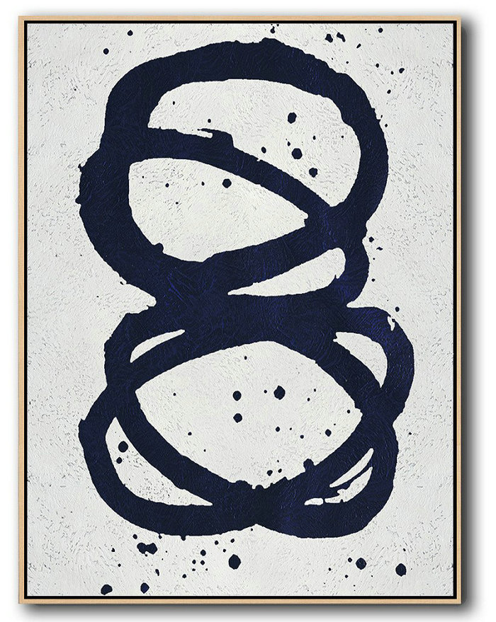 Extra Large Oil Paintings,Extra Large Abstract Painting On Canvas,Buy Hand Painted Navy Blue Abstract Painting Online,Colorful Wall Art