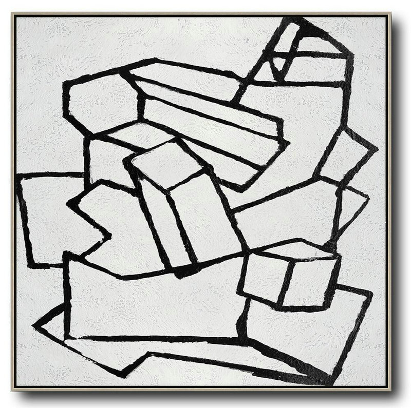 Abstract Composition Definition,Modern Art,Oversized Minimal Black And White Painting - Acrylic Painting On Canvas