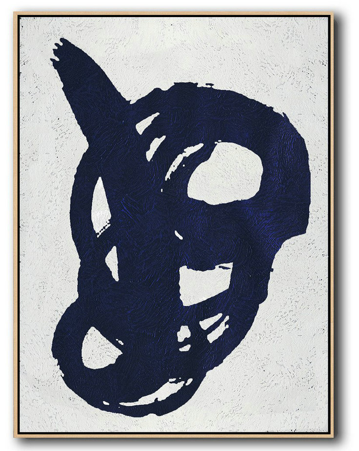 Canvas Painting Online,Original Painting Hand Made Large Abstract Art,Buy Hand Painted Navy Blue Abstract Painting Online,Big Painting