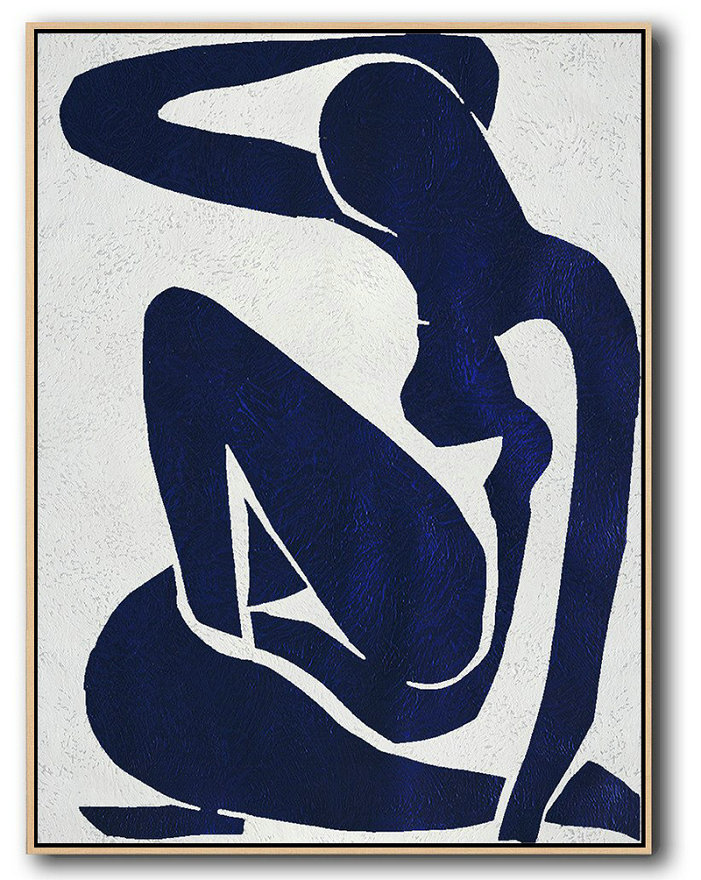 Big Custom Canvas Prints,Large Abstract Art,Buy Hand Painted Navy Blue Abstract Painting Nude Art Online,Large Oil Canvas Art