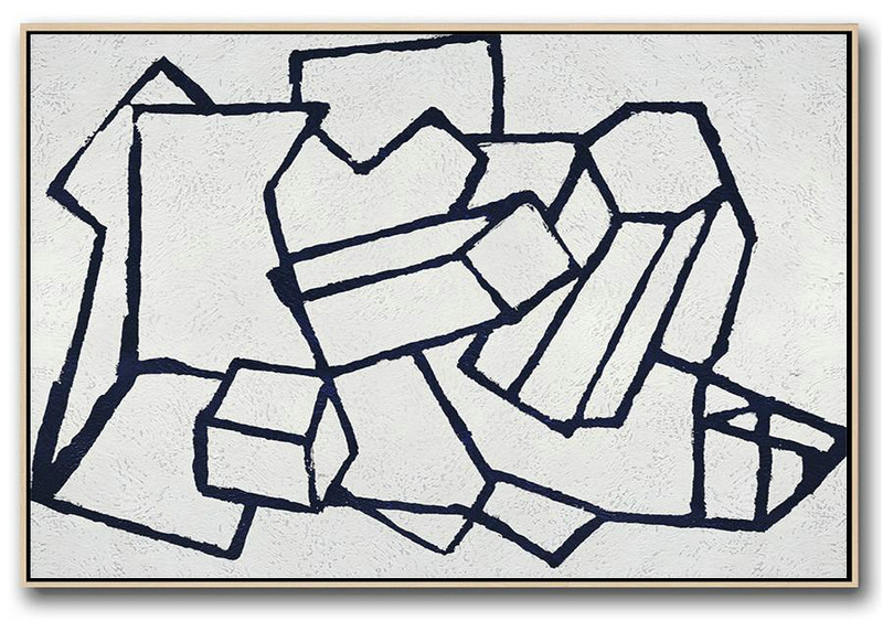 Art Canvas White,Large Contemporary Painting,Horizontal Abstract Painting Navy Blue Minimalist Painting On Canvas,Huge Canvas Art On Canvas