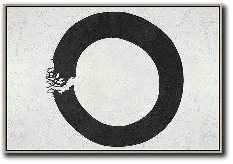 Art Canvas Suppliers,Hand Painted Aclylic Painting On Canvas,Oversized Horizontal Circle Minimal Art On Canvas, Black And White Minimalist Geometric Painting - Big Art Canvas