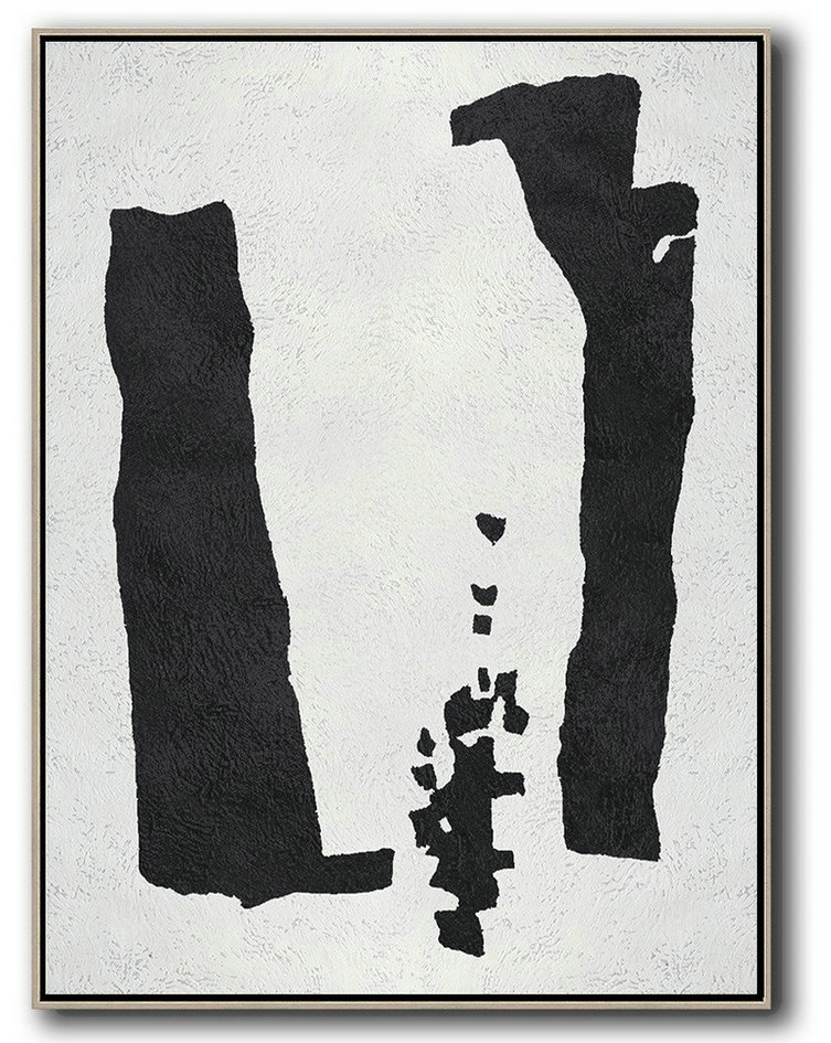 Buy Art Gallery,Handmade Large Contemporary Art,Black And White Minimal Painting On Canvas - Pretty Abstract Paintings