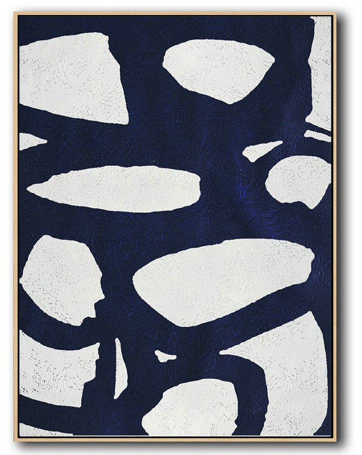 Modern Abstract Acrylic Painting,Hand Painted Extra Large Abstract Painting,Buy Hand Painted Navy Blue Abstract Painting Online,Modern Canvas Art