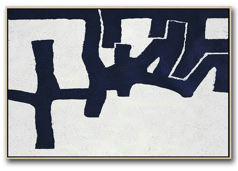 Canvas Painting Shop,Large Contemporary Art Canvas Painting,Horizontal Abstract Painting Navy Blue Minimalist Painting On Canvas,Extra Large Paintings