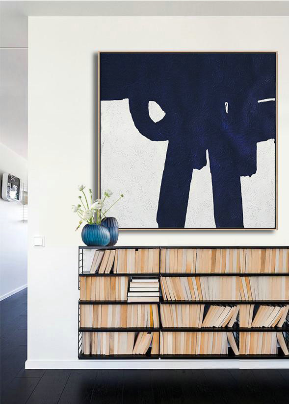 Abstract Art Pieces,Original Abstract Painting Extra Large Canvas Art,Hand Painted Navy Minimalist Painting On Canvas,Large Wall Canvas