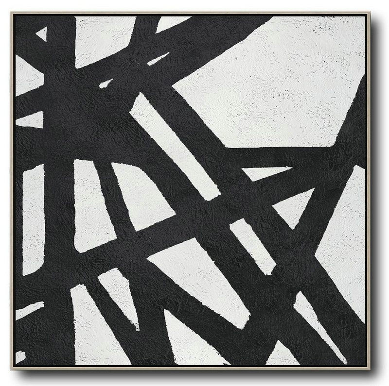 Contemporary Painting,Modern Paintings,Oversized Minimal Black And White Painting - Modern Art