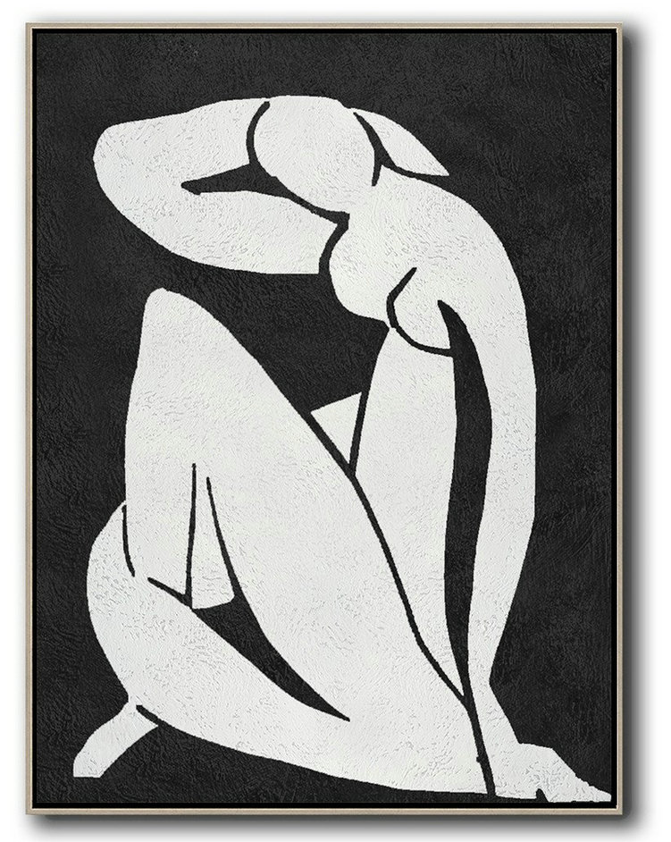 Canvas Painting Near Me,Large Contemporary Painting,Black And White Minimal Painting On Canvas - Modern Paintings
