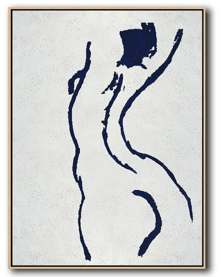 Art Abstract For Sale,Handmade Large Contemporary Art,Buy Hand Painted Navy Blue Abstract Painting Nude Art Online,Hand-Painted Canvas Art