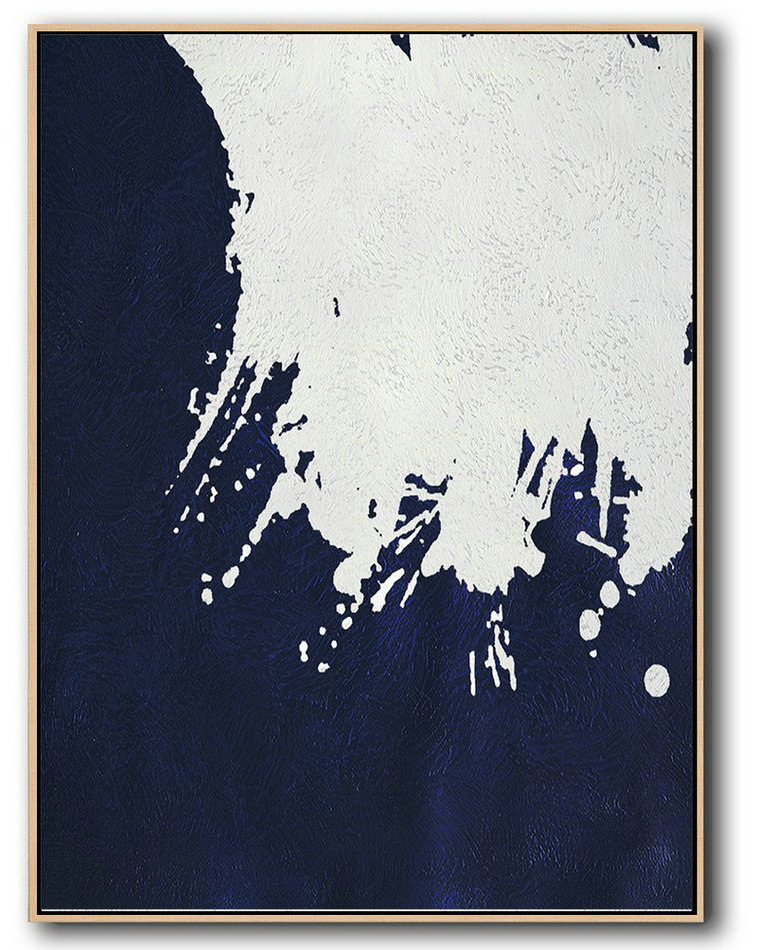 Large Abstract Canvas,Large Abstract Art Handmade Painting,Buy Hand Painted Navy Blue Abstract Painting Online,Canvas Wall Paintings