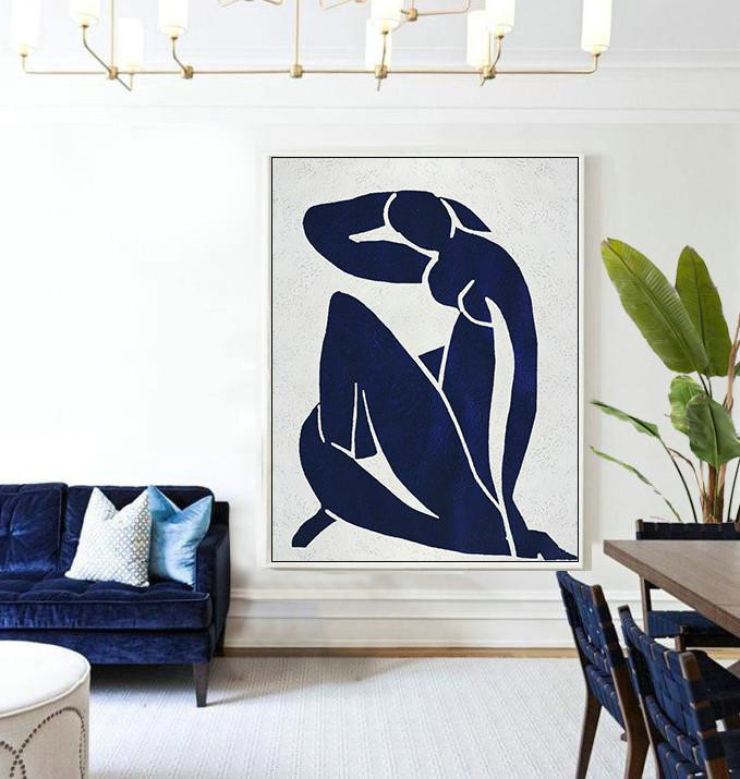 Oversized Stretched Canvas,Extra Large Canvas Art,Buy Hand Painted Navy Blue Abstract Painting Nude Art Online,Wall Art Ideas For Living Room