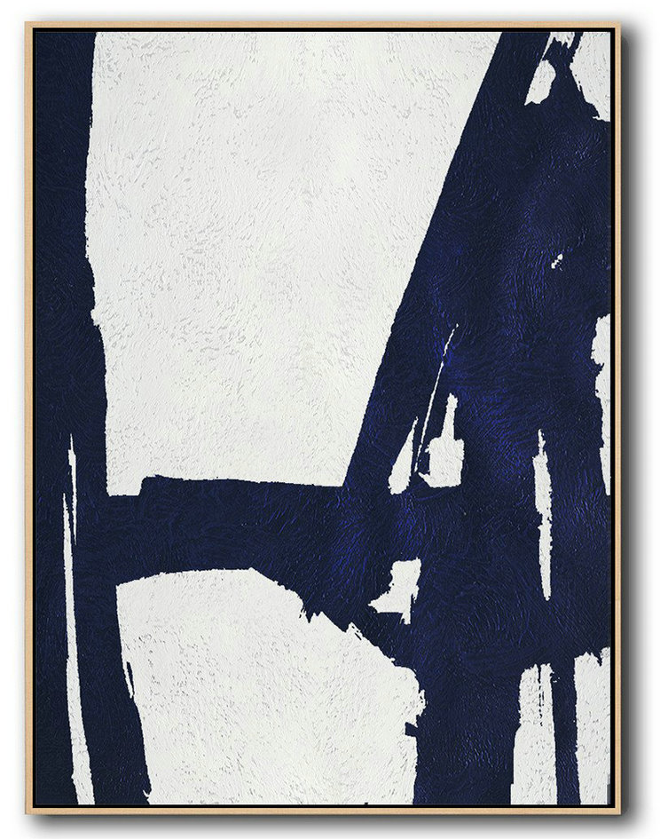 Painting Prints,Handmade Large Painting,Buy Hand Painted Navy Blue Abstract Painting Online,Modern Art