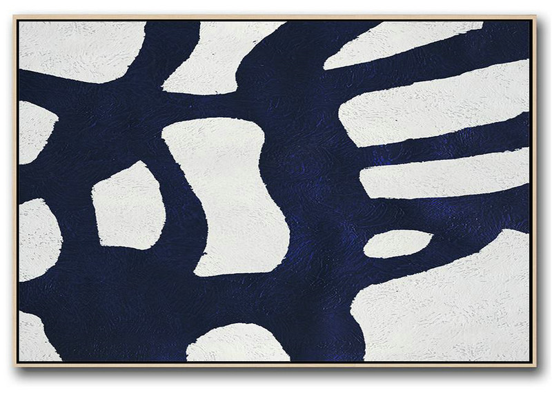 Abstract Work Of Art,Huge Abstract Canvas Art,Horizontal Abstract Painting Navy Blue Minimalist Painting On Canvas,Acrylic Painting On Canvas