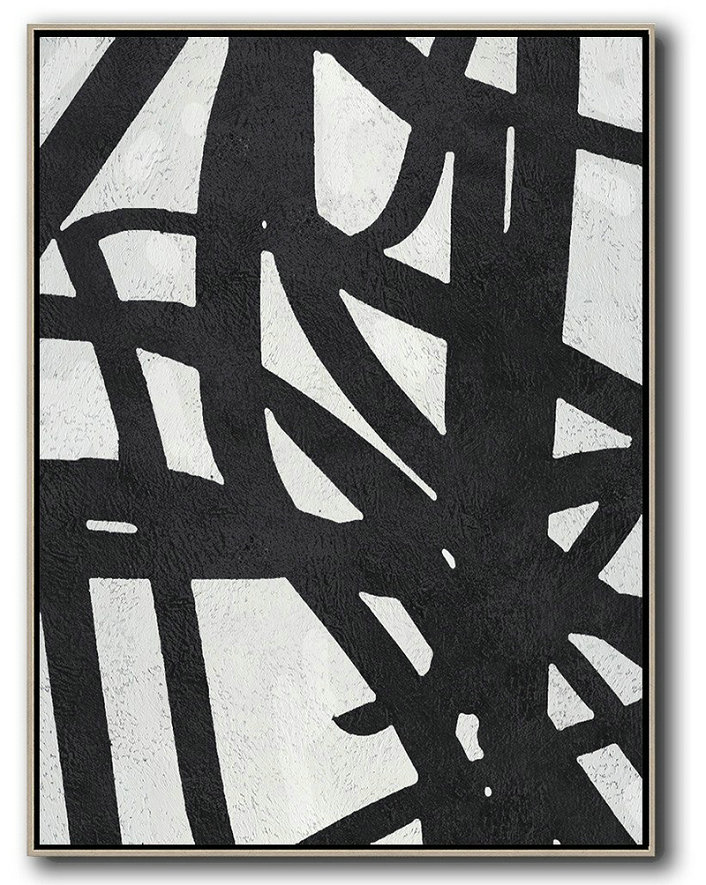 Abstract Art Paintings For Sale,Original Artwork Extra Large Abstract Painting,Black And White Minimalist Painting On Canvas - Hand Painted Acrylic Painting