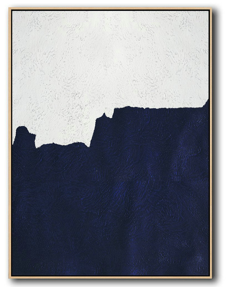 Abstract Contemporary Art Paintings,Hand Painted Extra Large Abstract Painting,Buy Hand Painted Navy Blue Abstract Painting Online,Modern Canvas Art