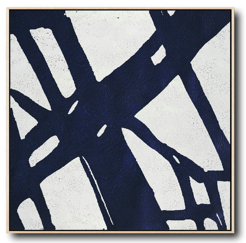 Wall Sized Canvas,Large Abstract Painting,Minimalist Navy Blue And White Painting,Pretty Abstract Paintings