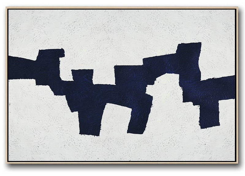 Long Wall Art Canvas,Hand Paint Abstract Painting,Horizontal Abstract Painting Navy Blue Minimalist Painting On Canvas,Large Paintings For Living Room