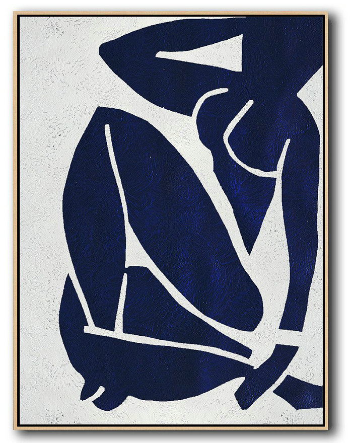 Art Canvas To Buy,Large Modern Abstract Painting,Buy Hand Painted Navy Blue Abstract Painting Nude Art Online,Original Abstract Painting Canvas Art