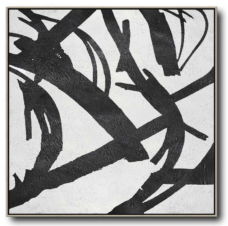 Abstract Art Time Period,Abstract Painting Extra Large Canvas Art,Oversized Minimal Black And White Painting - Hand Painted Canvas Art